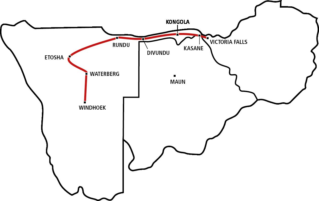Windhoek bis Victoria Falls