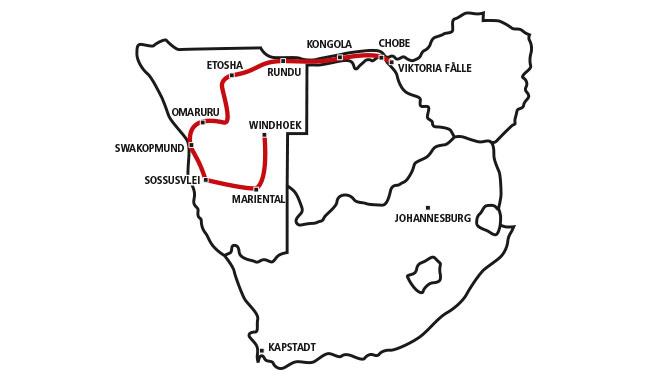 Windhoek bis Vic Falls über Sossusvlei