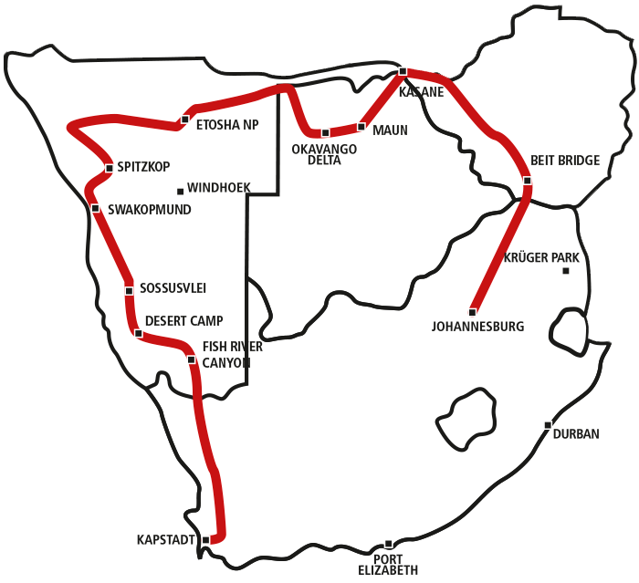 Drifters Cape Town to Johanneburg via Vic Falls