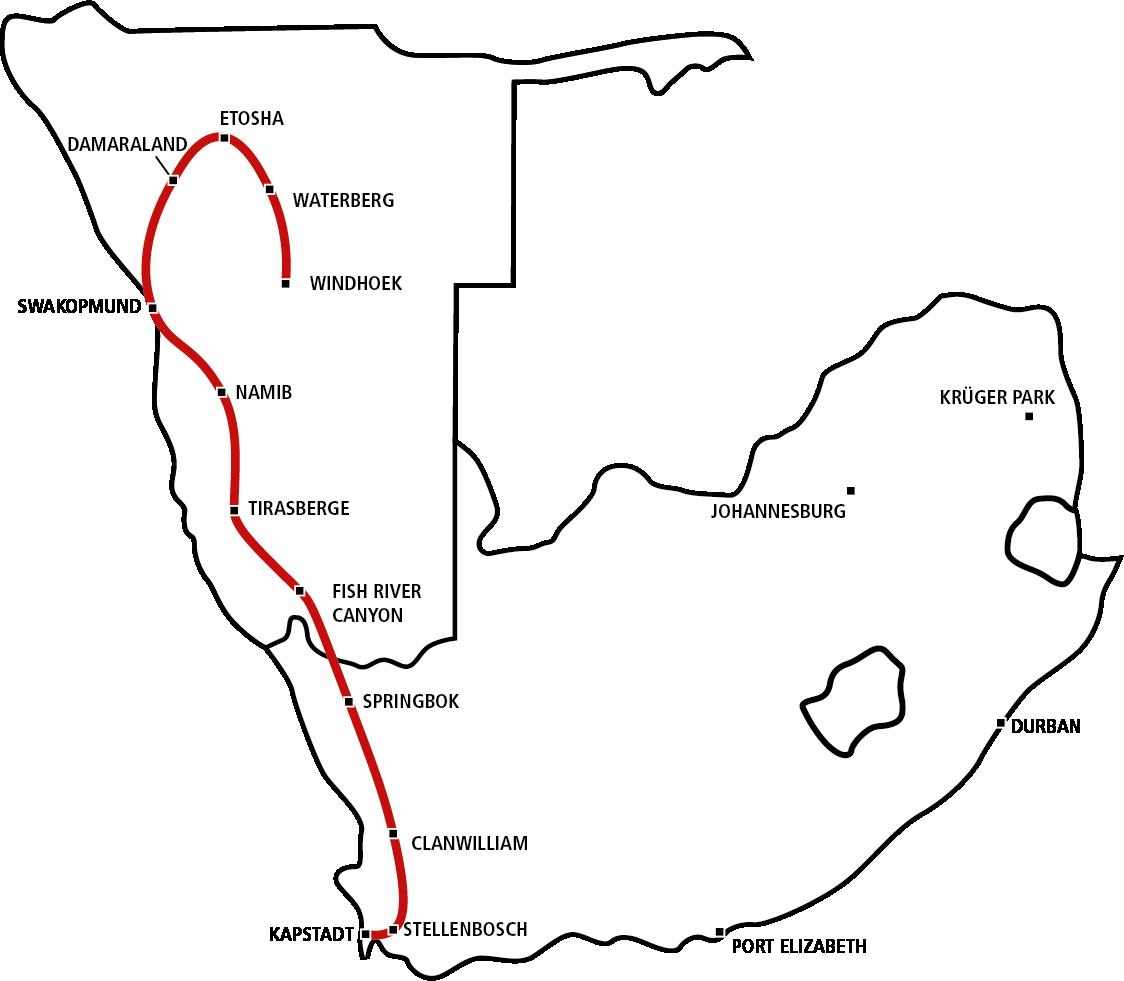 Windhoek bis Kapstadt